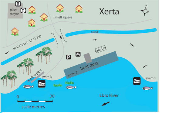 Map Of Spain Ebro River.Free Fishing Map To Find Places To Fish In Xerta River Ebro