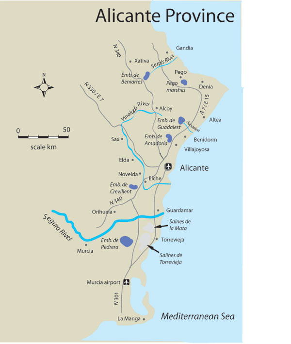 Alicante Map Of Spain.Find Places To Fish In Alicante Fishing In Spain France And Portugal