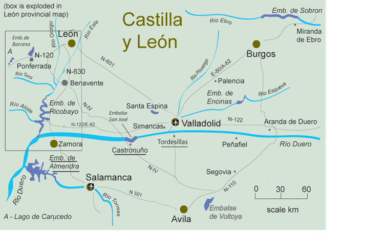 free fishing map to find places to fish in Castile and Leon