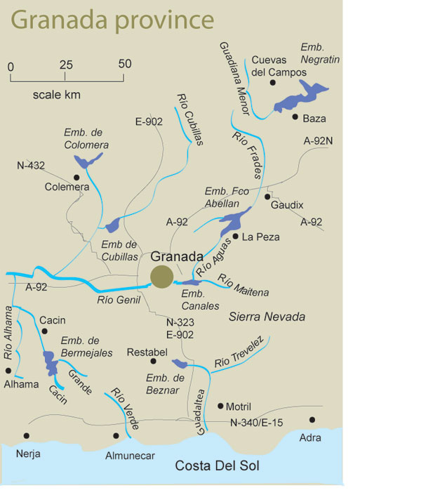 Map Of Spain Granada.Free Fishing Map To Find Places To Fish In Granada Fishing In