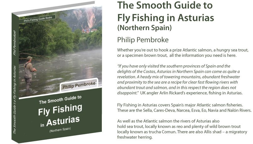 fly fishing book, Atlantic salmon, brown trout, sea trout, grey mullet, river Sella, Panes, where to fish, fishing licence, tackle, tactics, accommodation, fishing holiday, Spain