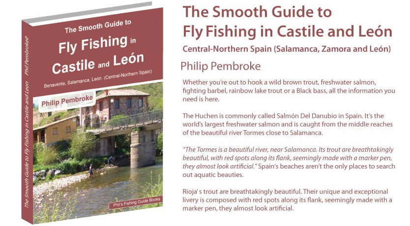 fly fishing book, brown trout, huchen salmon, licence, Leon, Salamanca, Zamora, where to fish, licence, tackle, tactics, accommodation, fishing holiday, Spain