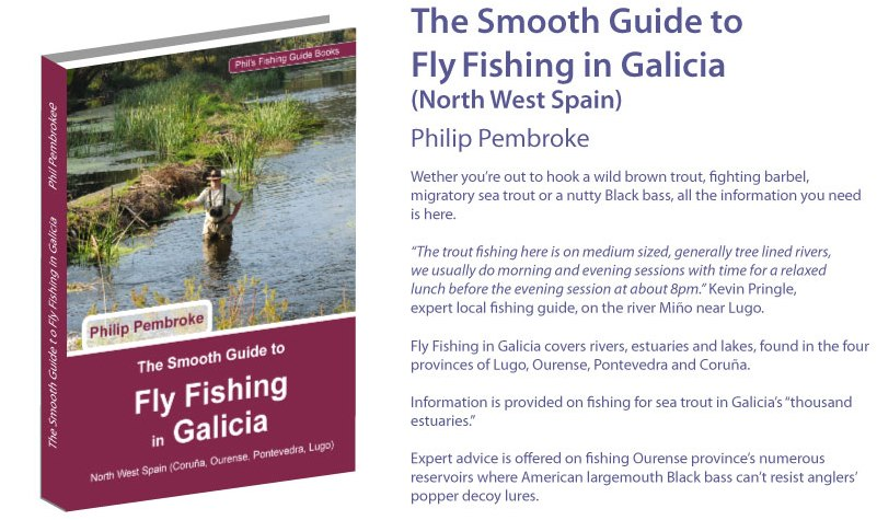 fly fishing book, brown trout, sea trout, river Mino, river Sil, Lugo, Galicia, where to fish, fishing licence, tackle, tactics, accommodation, fishing holiday, Spain